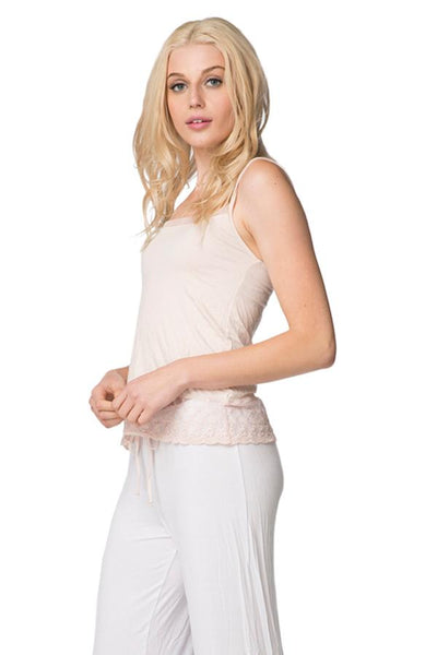 Knit Cami with Embroidery Lace Hem in Tea Rose - Subtle Luxury