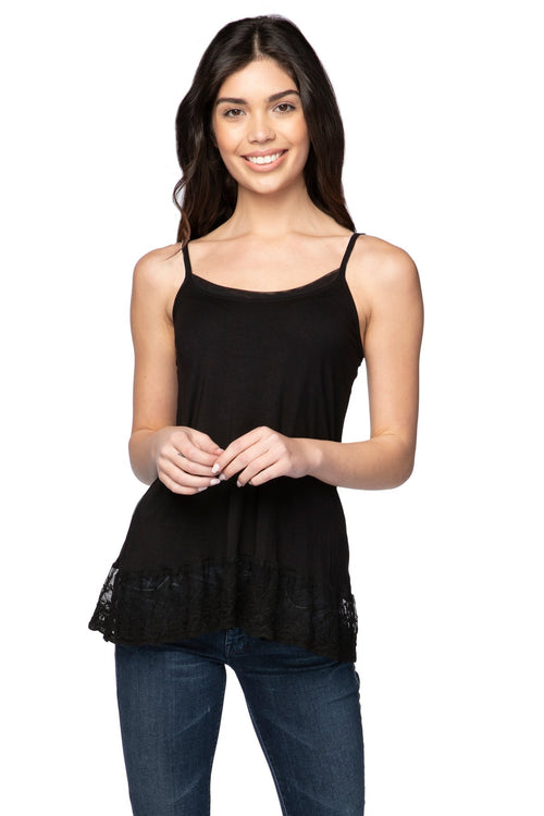 Knit Cami with Embroidery Lace Hem in Black - Subtle Luxury