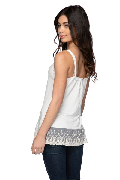 Knit Cami with Embroidery Lace Hem in Nude (Ivory)