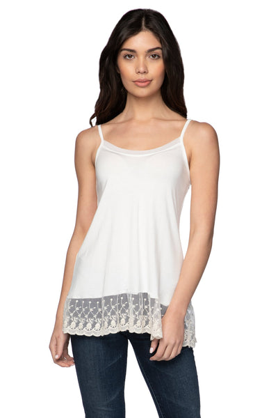 Knit Cami with Embroidery Lace Hem in Nude (Ivory) - Subtle Luxury
