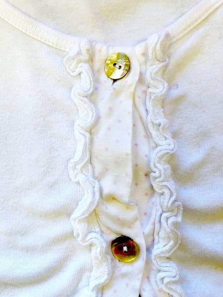 Ruffle Cardigan in White w/Printed Placket