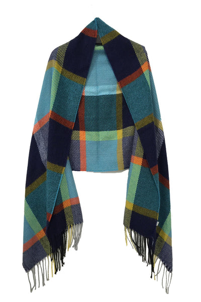 Spun - Woven Electric Plaid Color Blanket Wrap in Blue