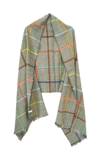 Multi Check Blanket Wrap in Grey
