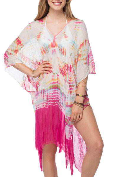 Tie Dye Splash Kaftan Maxi Dress in Tropical - Subtle Luxury