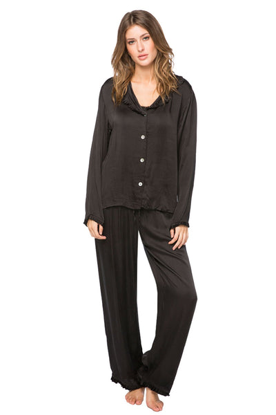 Charlotte Satin PJ Set in Black