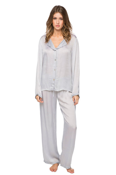 Charlotte Satin PJ Set in Light Grey | Loungerie by Subtle Luxury