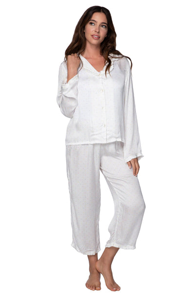 Charlotte Printed Satin PJ Set in Multi Dots - Subtle Luxury
