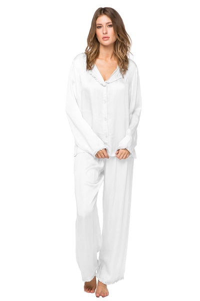 Charlotte Satin PJ Set in White