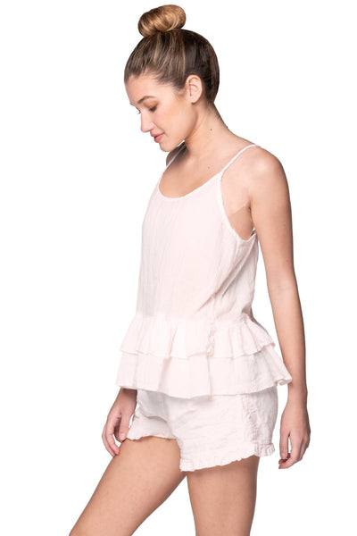 Embroidery Sleep Short in Tie Dye Blush - Subtle Luxury