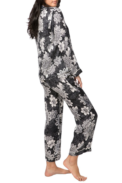 Swirl Floral PJ Set in Black