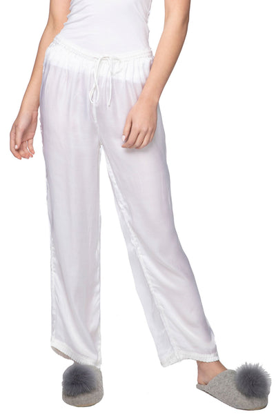 Charlotte Satin PJ Pant in White