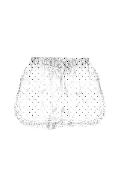 Carrie Satin PJ Short in Dark Dots - Subtle Luxury