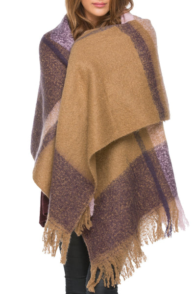 Plaid Parkway Wrap in Purple - Subtle Luxury