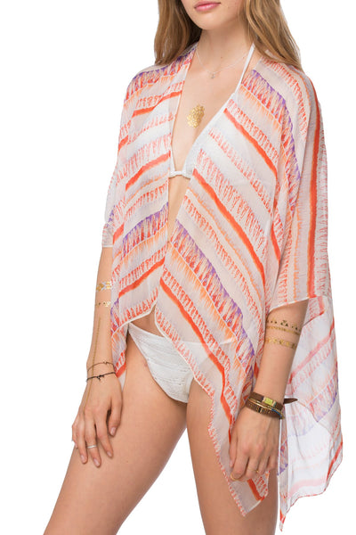 Silky Kimono Wrap in Sunrise Red Print - Subtle Luxury