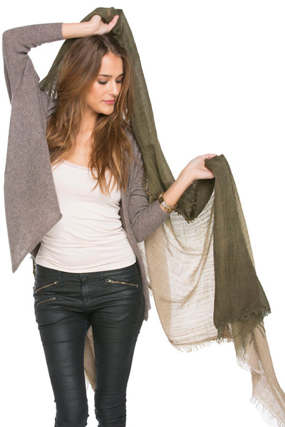 2-Tone Ombre Wrap in Olive Natural Tan - Subtle Luxury