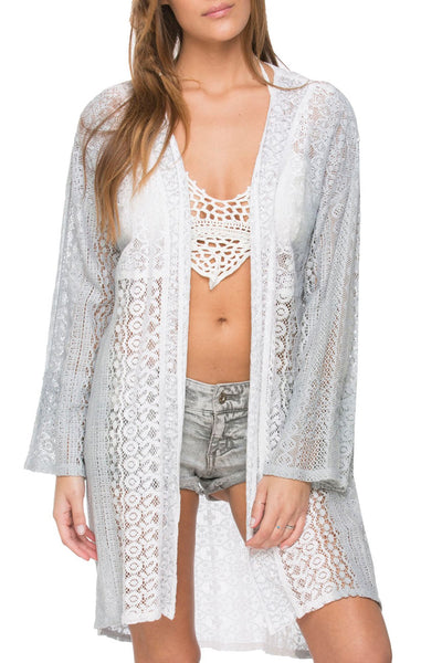 Sale Coastal Lace Kimono in Pebble Dip Dye