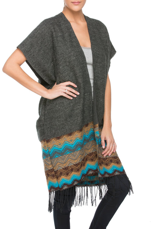 Colored Border Poncho Kimono in Charcoal - Subtle Luxury