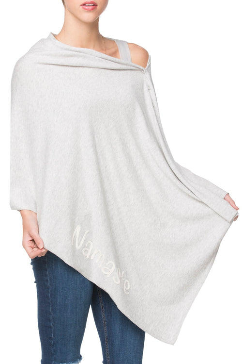 Zen Blend 2 Way Wrap in Fog - Namaste/Shanti Embroidery