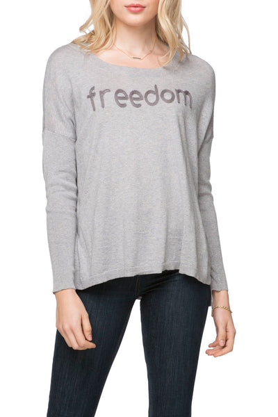 "Jane Drop Shoulder Crew ""Freedom"" Embroidery"