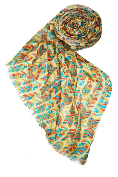 Modal/Cashmere Digitally Printed Pow Wow Scarf in Gold