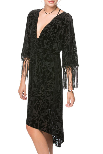 Stevie Dress in Wild Bird Noir - Subtle Luxury