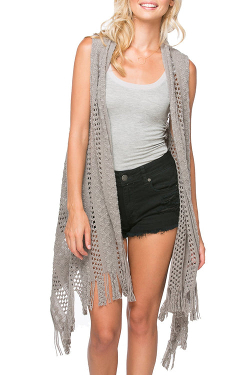 "Fringe Edge ""Stevie"" Vest in Slate - Subtle Luxury"