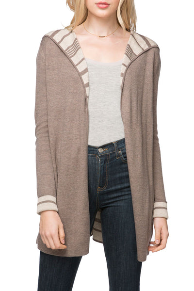Madison Reversible Striped Hooded Cardi