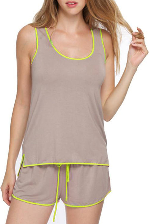 Pippa Sleep Tank  in Latte with Citrus or Hibiscus Piping