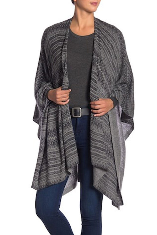 100% Cashmere Oversized Printed Poncho Wrap in PE-Charcoal Print