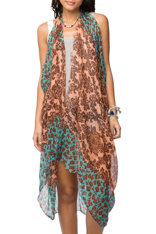 Free Spirit Vest in Leopard Damask Print in Blush - Subtle Luxury