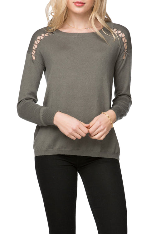 Ella Lace Up Detail Pullover