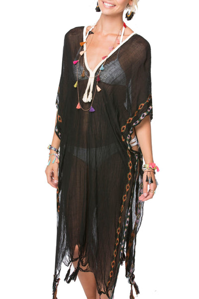 Aztec Embroidery Maxi Kaftan in Black - Subtle Luxury