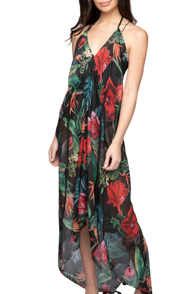 Hibiscus Garden Grecian Goddess Dress in Black