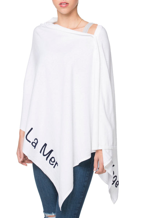 Zen Blend 2 Way Wrap in White with La Mer/La Plage Embroidery