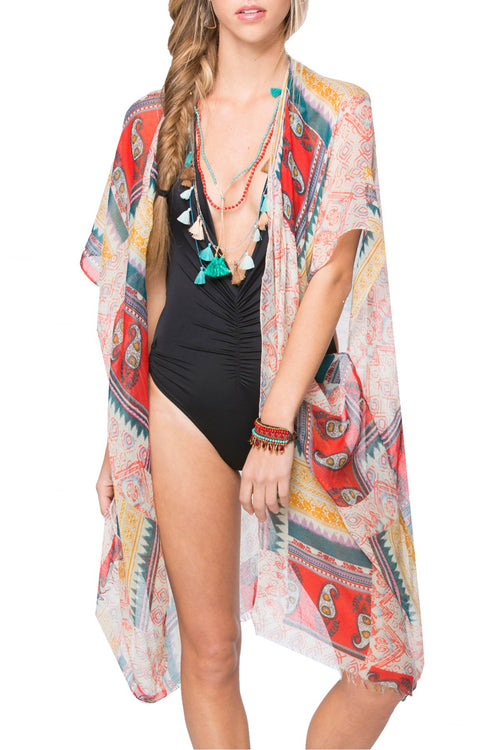 Native Paisley Kimono Wrap in Multi - Subtle Luxury