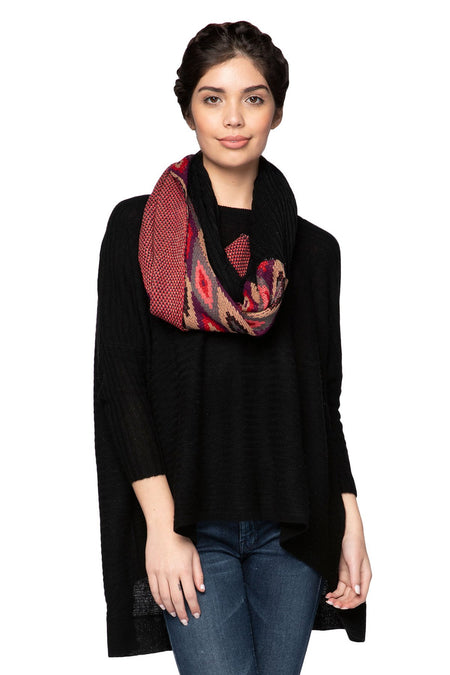 Stripe & Bloom Scarf in Brown