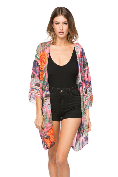 Enchanting Blooms Bell Kimono in Pink