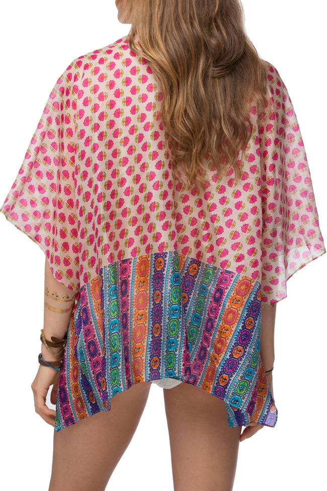 100% Silk Kimono in Vintage Border Pink - Subtle Luxury