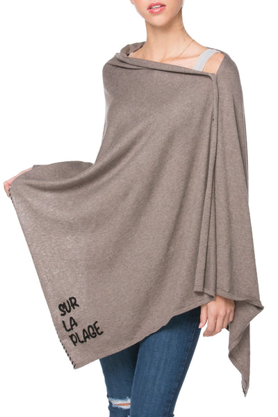 Zen Blend 2 Way Wrap in Root - Sur la plage/Shell embroidery