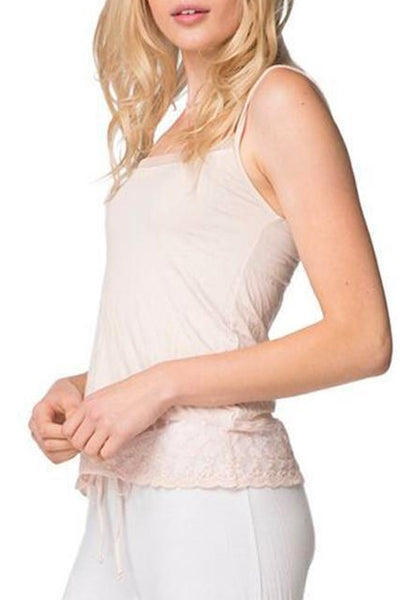 Dotted Mesh & Lace Trim Cami - PETITE - Subtle Luxury