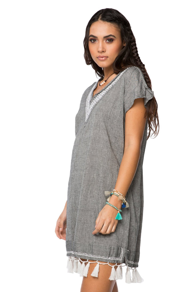 Fringe Tassel Dress in Solid Chambray - Charcoal