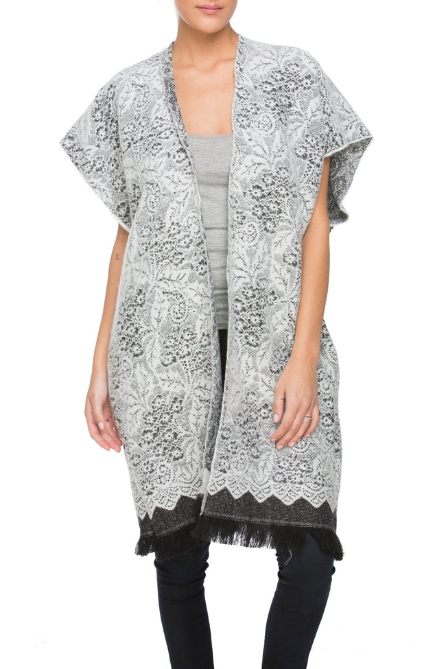 Winter Lace Kimono in Snow - Subtle Luxury