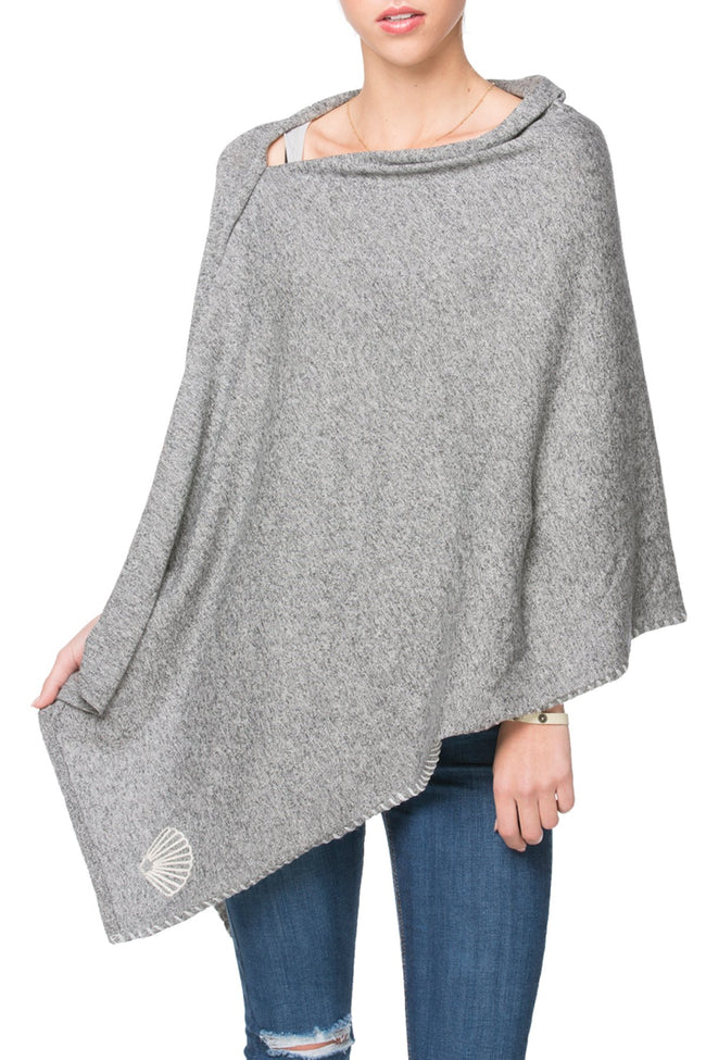 Zen Blend 2 Way Wrap in Nickel - Sur la plage/Shell embroidery
