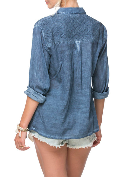 Button Up Lace Shirt - Pigment Dye in Dark Denim - Subtle Luxury