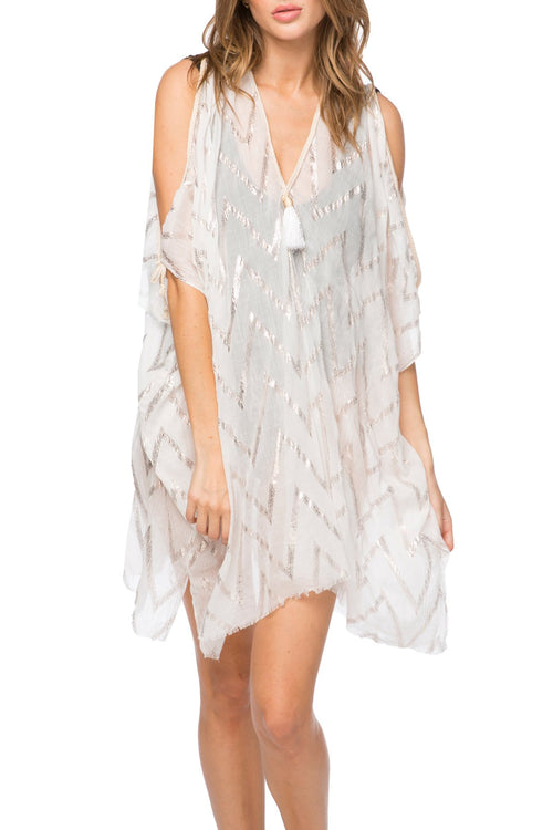 Shimmer ZigZag Open Shoulder Dress