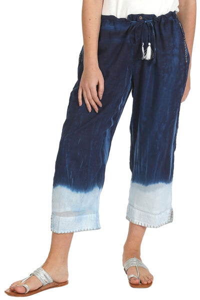 Lira Beach Pant in Shibori Print and Dip Dye