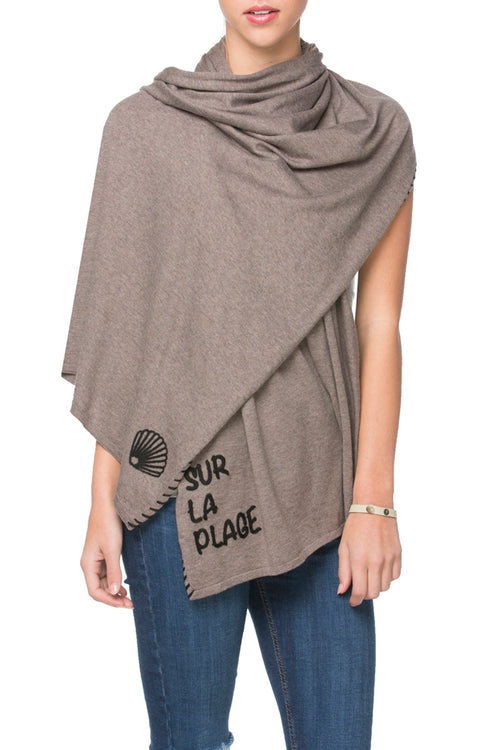 Zen Blend 2 Way Wrap in Root - Sur la plage/Shell embroidery - Subtle Luxury