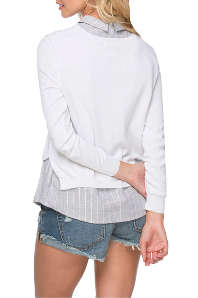 Layered Collar Shirt - Vintage Mixed Media White w/Dove Stripe - Subtle Luxury