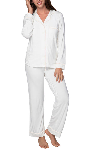 Pippa PJ Set in White with Contrast Piping