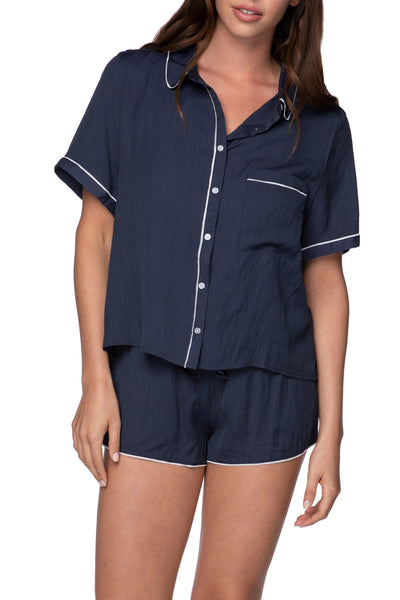 Jade PJ Top in Navy with Pocket Embroidery or Solid